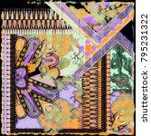 texture of print fabric leopard ... | Shutterstock . vector #795231322