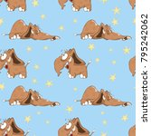 vector background with cute... | Shutterstock .eps vector #795242062
