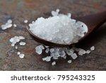 sea salt condiment macro view....   Shutterstock . vector #795243325