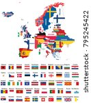europe map mixed with countries ... | Shutterstock .eps vector #795245422