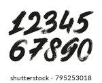calligraphic numbers. vector set   Shutterstock .eps vector #795253018