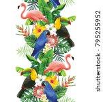 tropical seamless vertical... | Shutterstock .eps vector #795255952