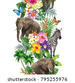 tropical seamless vertical...   Shutterstock .eps vector #795255976