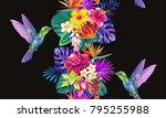 tropical seamless vertical... | Shutterstock .eps vector #795255988