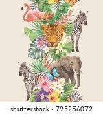 tropical seamless vertical...   Shutterstock .eps vector #795256072