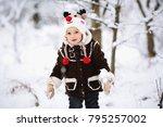 closeup winter portrait of cute ... | Shutterstock . vector #795257002
