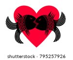 fish in a passionate kiss on... | Shutterstock .eps vector #795257926