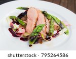 seared duck breast with pur  on ...   Shutterstock . vector #795264586