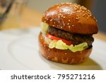 delicious hamburger with salad... | Shutterstock . vector #795271216