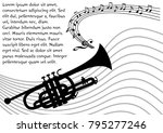 trumpet silhouette with wavy...   Shutterstock .eps vector #795277246
