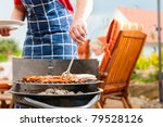 happy family having a barbecue... | Shutterstock . vector #79528126