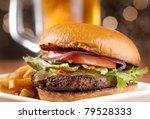 gourmet cheeseburger with mug... | Shutterstock . vector #79528333