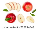 red apples with slices and... | Shutterstock . vector #795294562