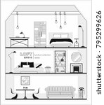 set of apartment interiors with ... | Shutterstock .eps vector #795299626
