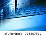 man hand on a laptop keyboard.... | Shutterstock . vector #795307912