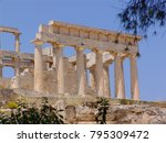 Small photo of Photo from iconic temple of Afaia in island of Aigina, Saronic gulf, Greece