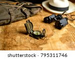 old expedition map with compass ... | Shutterstock . vector #795311746