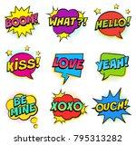 retro colorful comic speech... | Shutterstock .eps vector #795313282