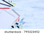 business objects on wooden... | Shutterstock . vector #795323452