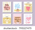 set of beautiful greeting cards ... | Shutterstock .eps vector #795327475