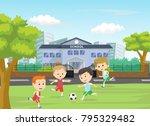 illustration of boys kicking... | Shutterstock . vector #795329482
