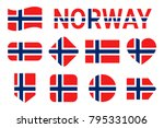 norway flags vector collection. ... | Shutterstock .eps vector #795331006