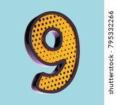 number 9. pop art font. 3d font ...   Shutterstock . vector #795332266