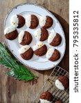 overhead of dark chocolate... | Shutterstock . vector #795335812