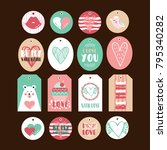 set of cute gift tags for... | Shutterstock .eps vector #795340282