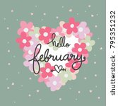 hello february word and pink... | Shutterstock .eps vector #795351232
