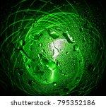 physiogram through wet glass | Shutterstock . vector #795352186