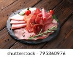 food tray with delicious salami ... | Shutterstock . vector #795360976