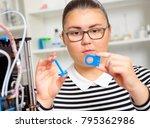teenager girl with 3d printe.... | Shutterstock . vector #795362986