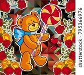 cute teddy bear on a mosaic... | Shutterstock .eps vector #795366976