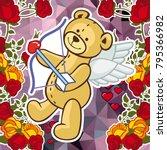 cute teddy bear on a mosaic... | Shutterstock .eps vector #795366982