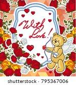 cute teddy bear on a mosaic... | Shutterstock .eps vector #795367006