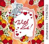 cute teddy bear on a mosaic... | Shutterstock .eps vector #795367012