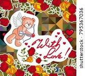 cute teddy bear on a mosaic... | Shutterstock .eps vector #795367036