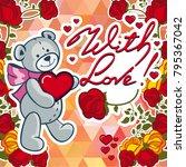 cute teddy bear on a mosaic... | Shutterstock .eps vector #795367042