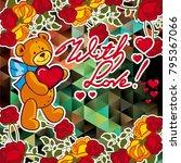 cute teddy bear on a mosaic... | Shutterstock .eps vector #795367066