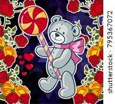 cute teddy bear on a mosaic... | Shutterstock .eps vector #795367072