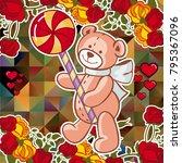 cute teddy bear on a mosaic... | Shutterstock .eps vector #795367096