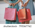 young asian girl with shopping... | Shutterstock . vector #795367762