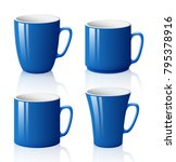 set of blue cups isolated on... | Shutterstock .eps vector #795378916