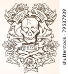 skull tattoo design | Shutterstock .eps vector #79537939