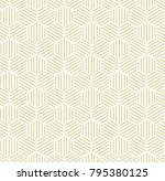 gold hexagonal line seamless... | Shutterstock . vector #795380125