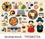 lovely korea travel concept set ... | Shutterstock . vector #795382726