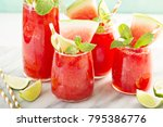 watermelon summer drink with...   Shutterstock . vector #795386776