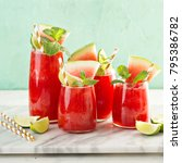 watermelon summer drink with...   Shutterstock . vector #795386782