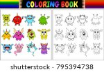 coloring book with monsters... | Shutterstock .eps vector #795394738